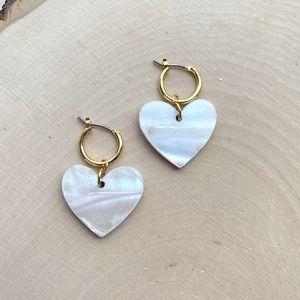 NWT Free People Heart Shell Dangle Hoop Earrings